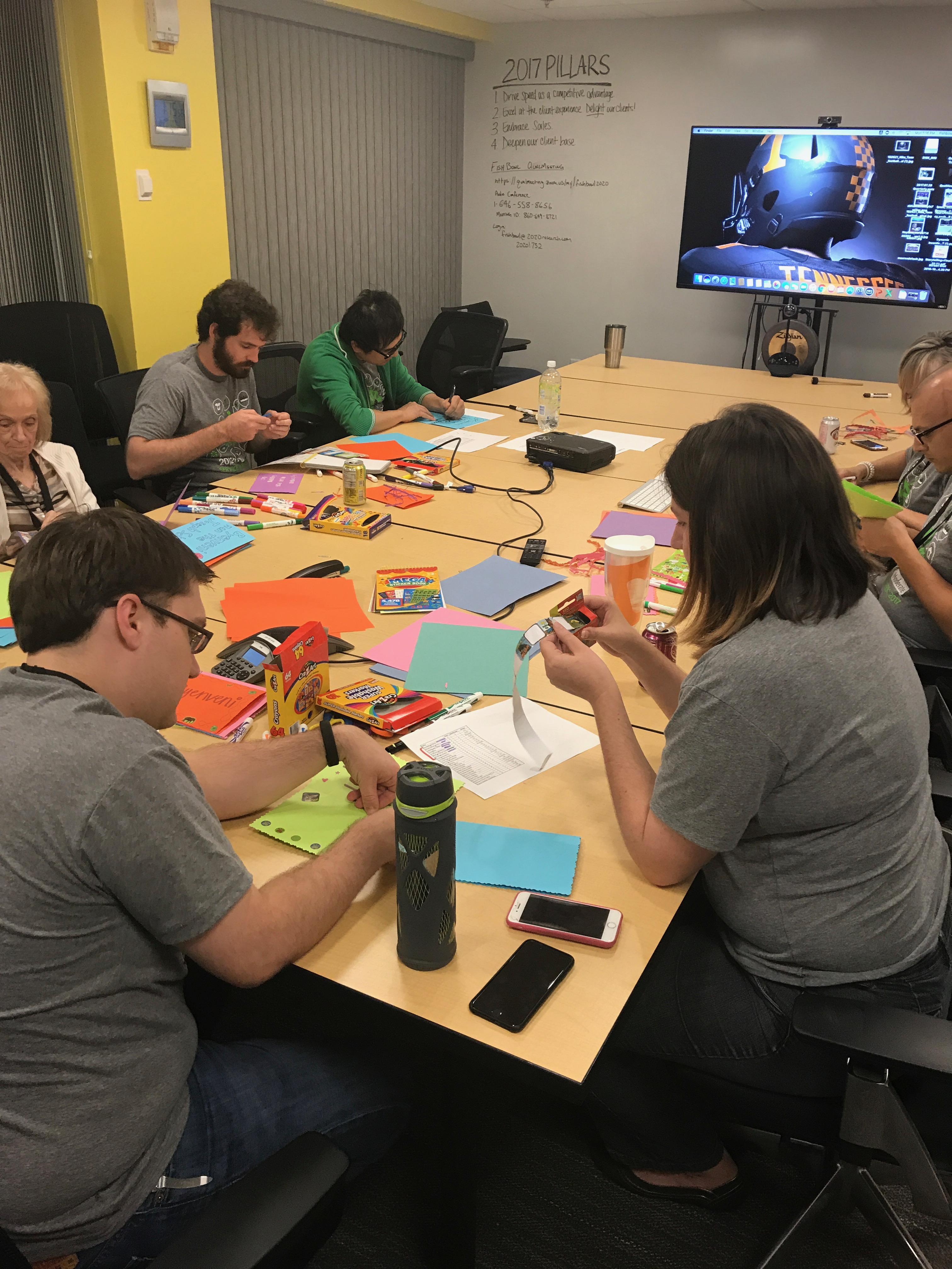 2020 employees making cards for the students