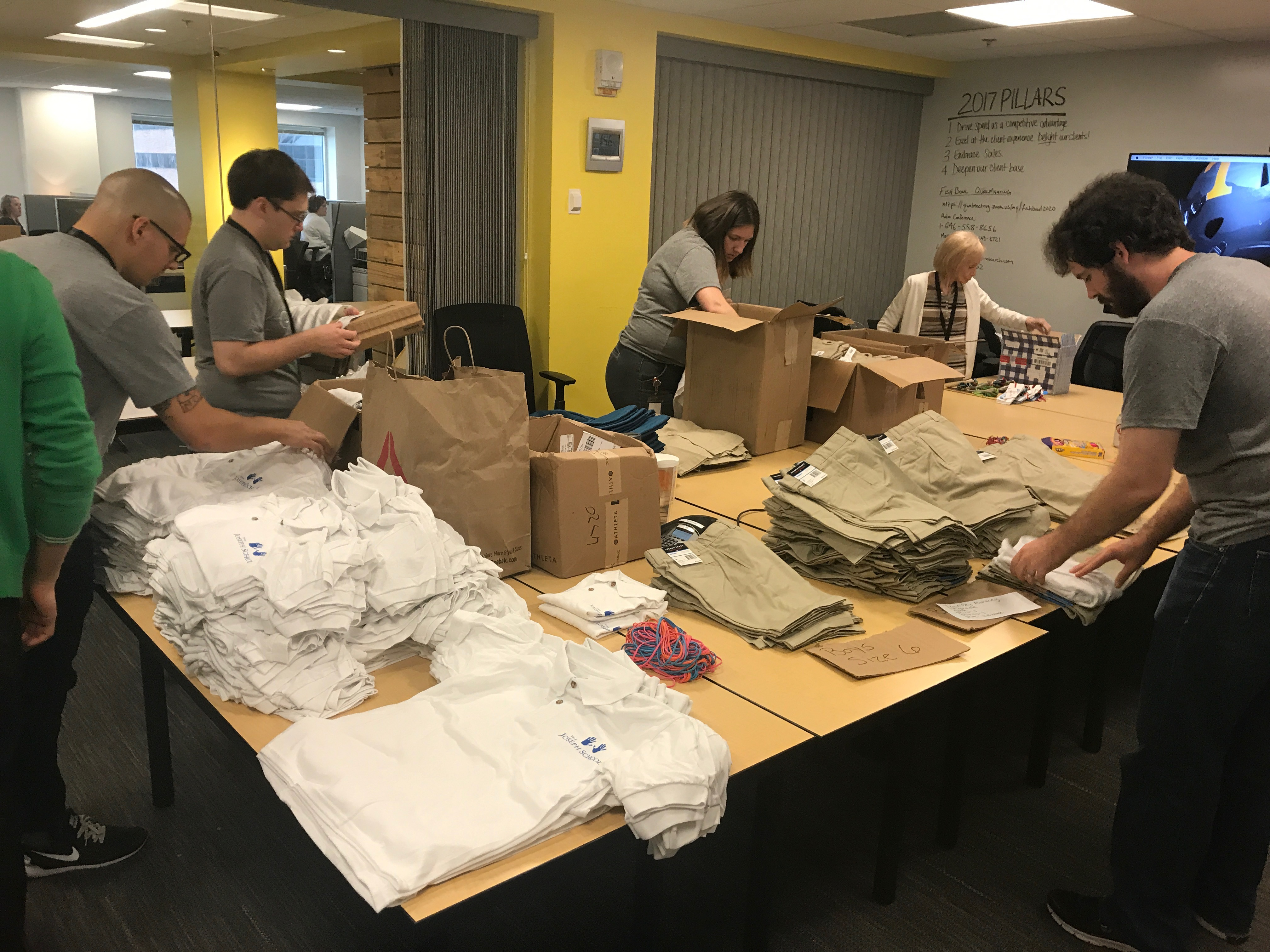 2020 employees packing uniforms
